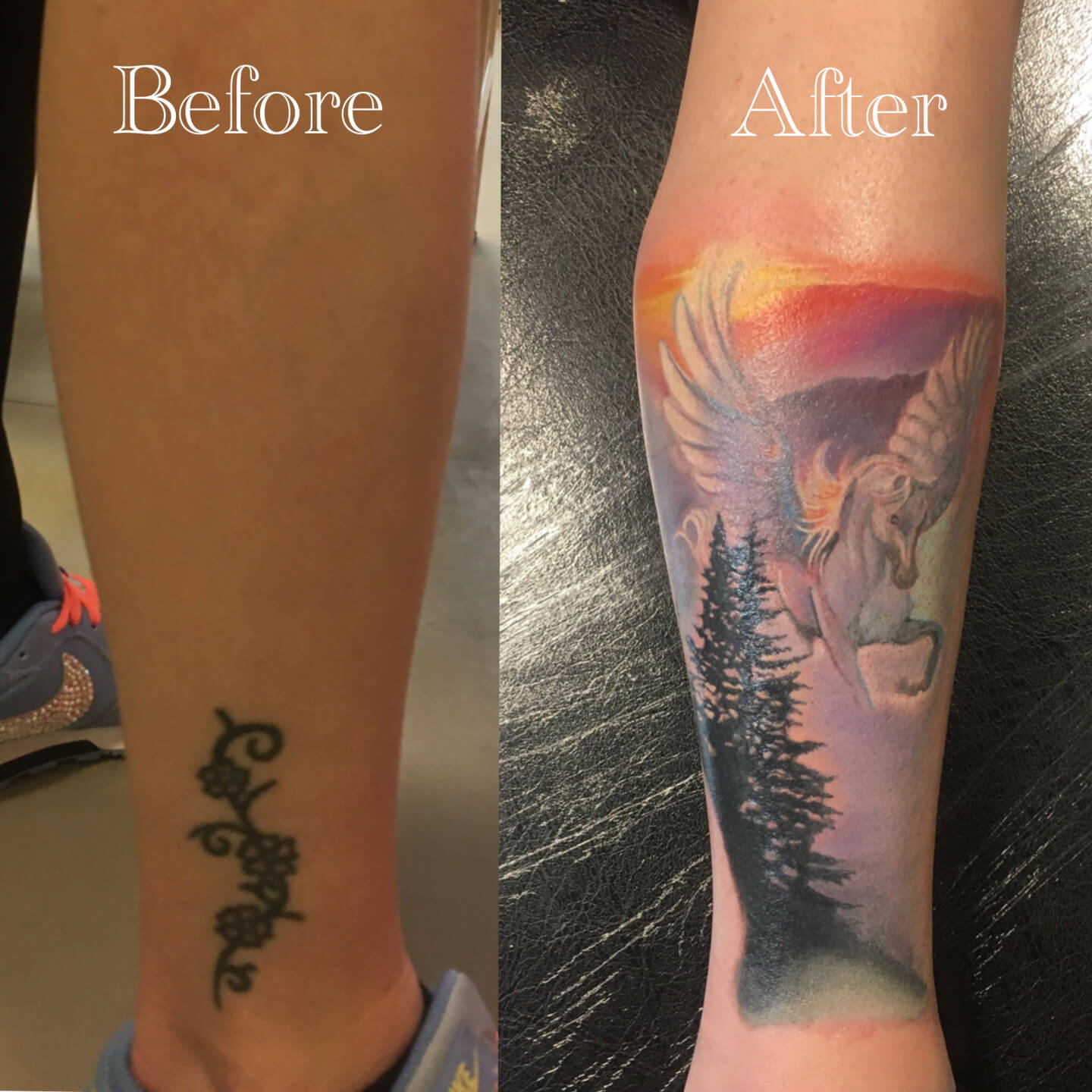 Cover Up Coverup Tattoo Ankle Peagsus Horse Landscape Sunset Trees Design Idea Ideas Tattooshop Assen Drenthe Blueroottattoo