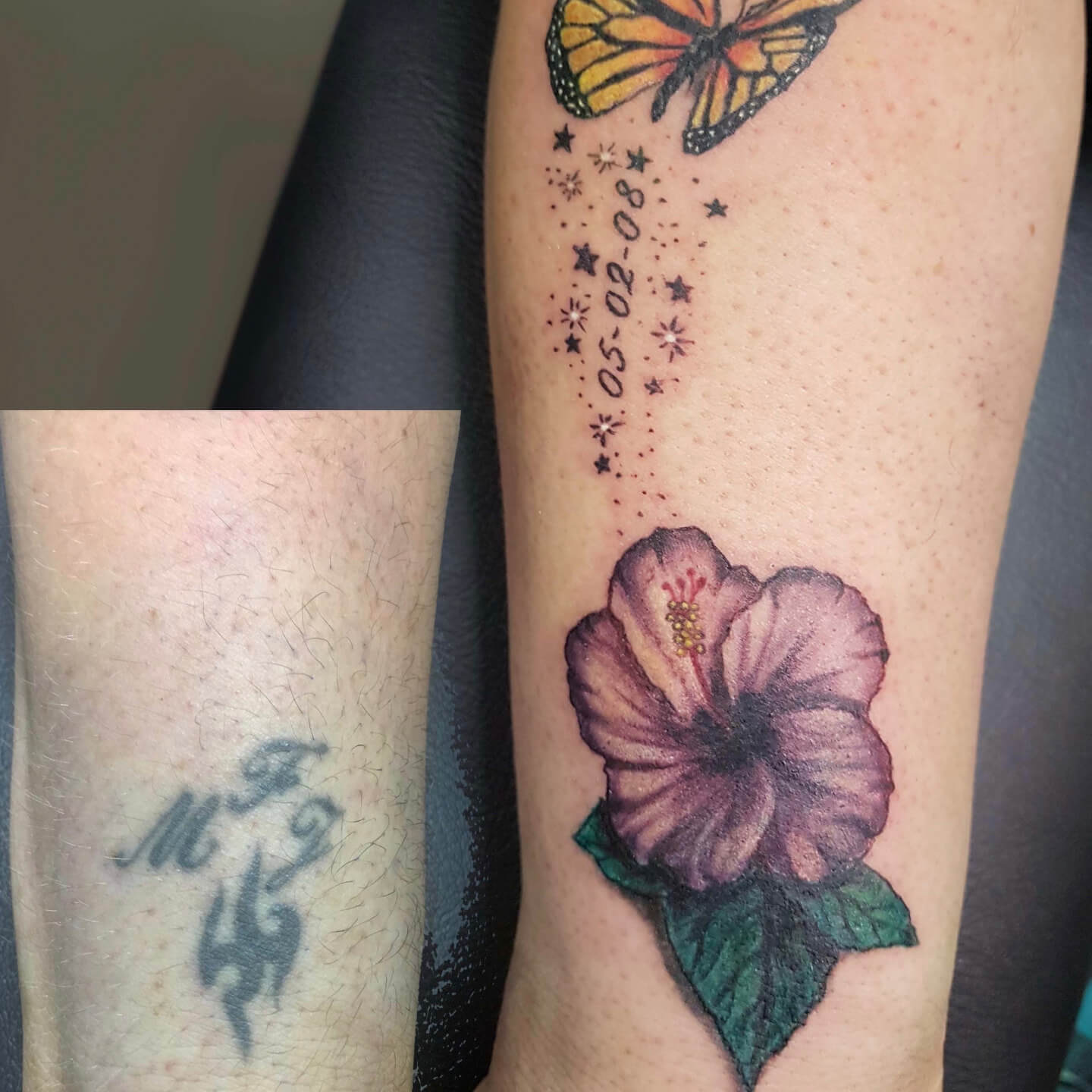 Tattoo Coverup Butterfly Hibiscus Flower