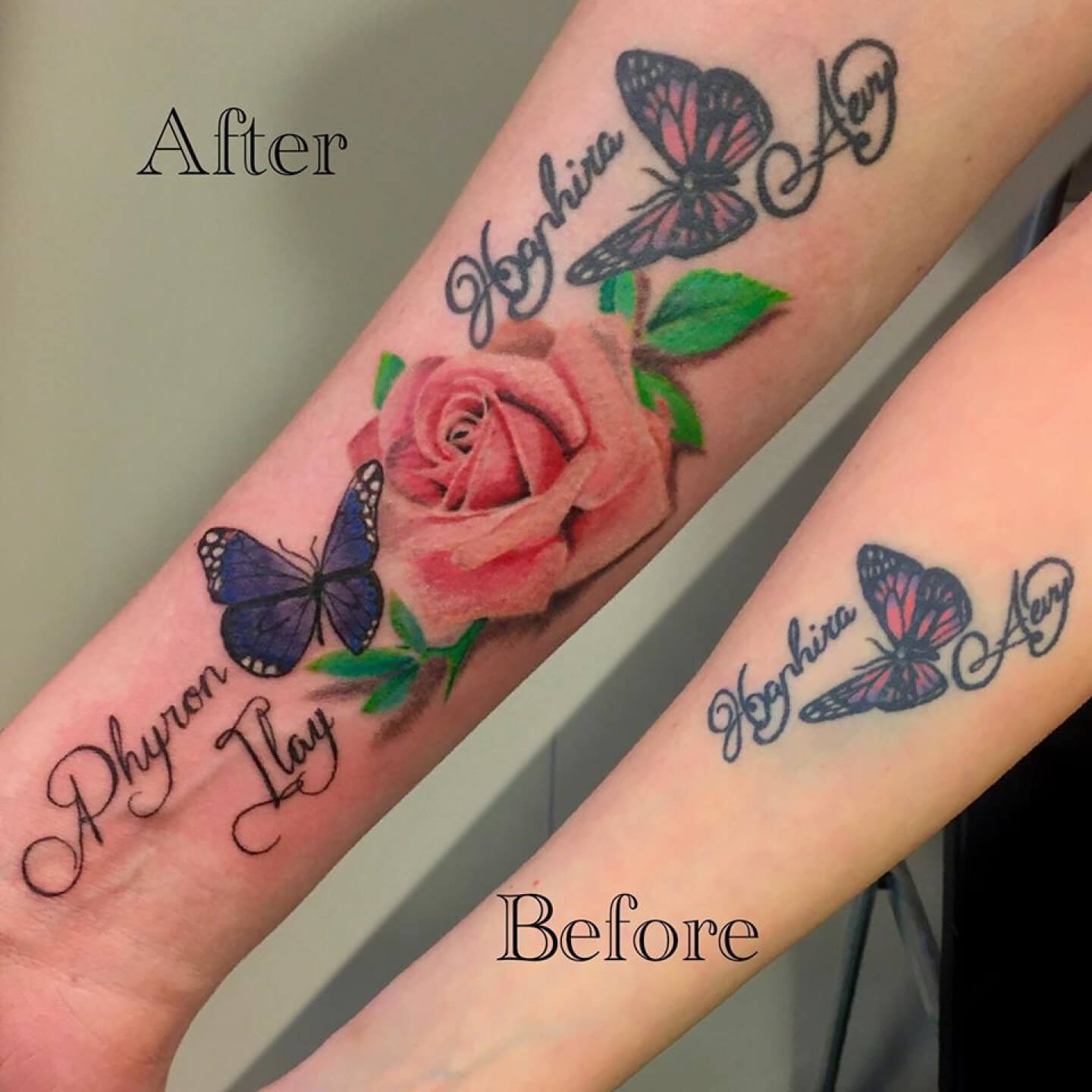 Realistic Rose Tattoo Butterfly Name Colour Color Realism Lettering Fineline Dutch Female Feminine Armt Ink Inked Drenthe Tattooshop Assen Blueroottattoo