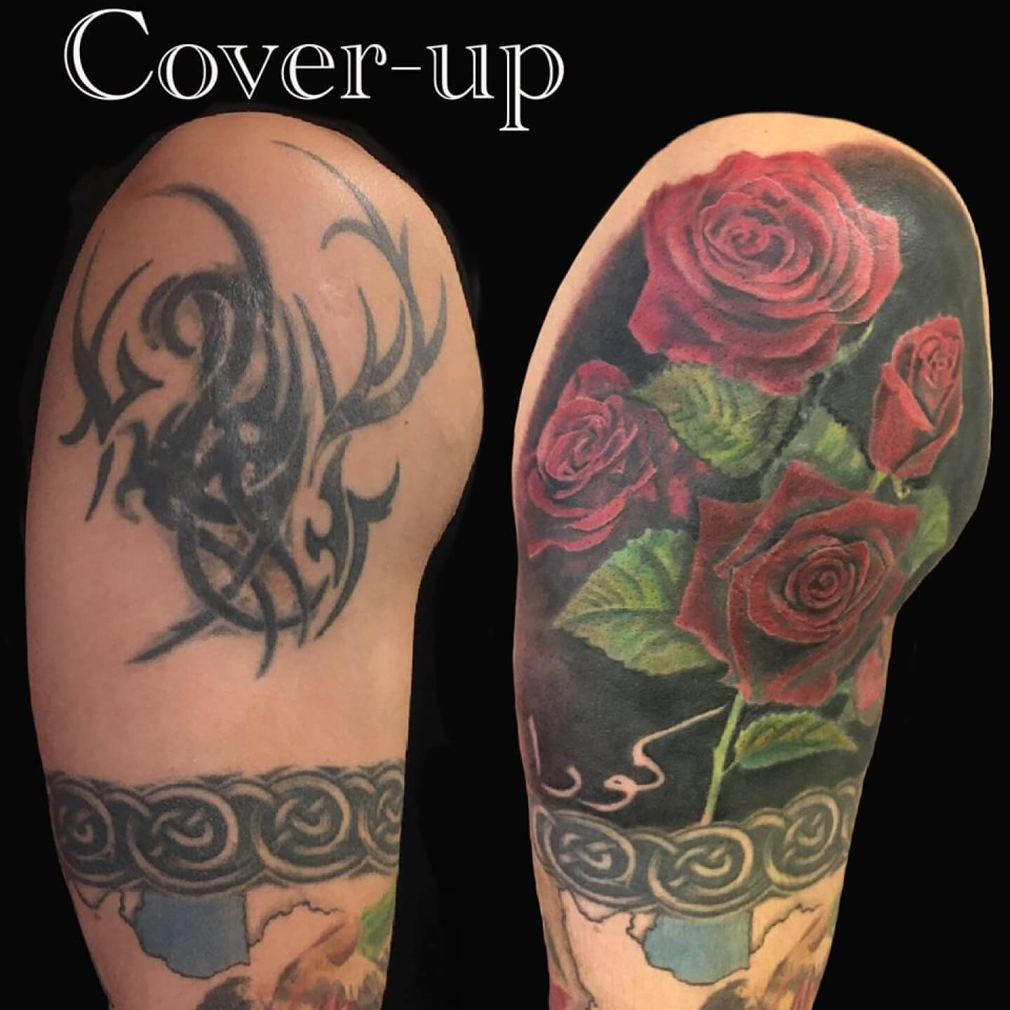 Scar Tribal Cover Up Tattoo Roses Name Lettering Colour Color Realism Realistic Upperarm Sleeve Drenthe Tattooshop Assen Blueroottattoo